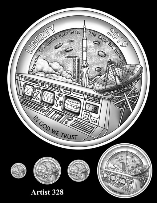 Artist 328 - Obverse Apollo 11 Commemorative Coin Design