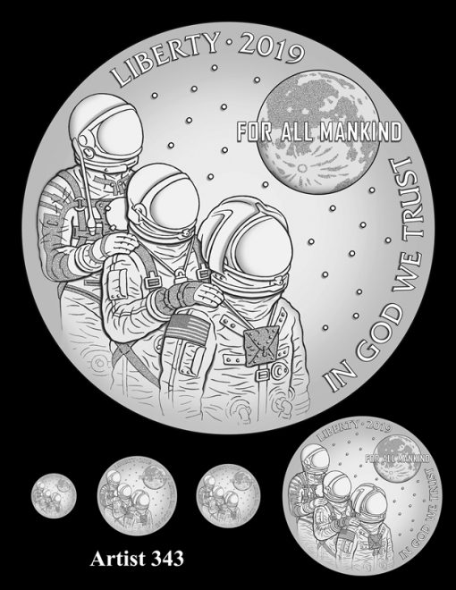 Artist 343 - Obverse Apollo 11 Commemorative Coin Design