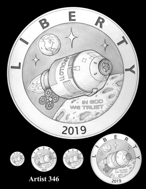 Artist 346 - Obverse Apollo 11 Commemorative Coin Design