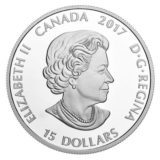 Canadian 2017 $15 Great Horned Owl Coin - Obverse