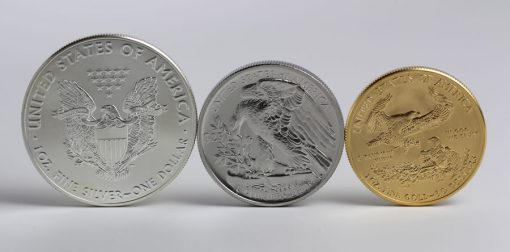 Obverses of American Ealge Silver, Palladium and Gold Bullion Coins