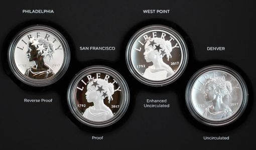 Photo of medals in 225th Anniversary American Liberty Silver Four-Medal Set