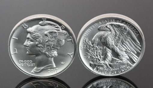 Top View of 2017 $25 American Palladium Eagle Bullion Coins - Obverse and Reverse