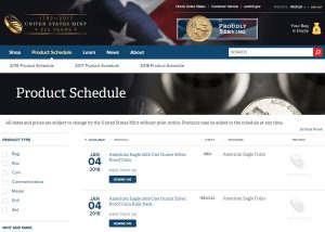 US Mint Product Schedule Screen Grab