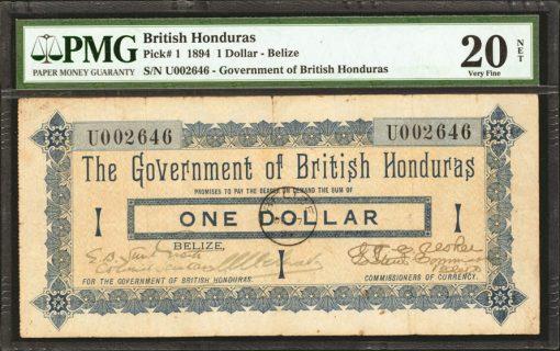 1894 British Honduras One Dollar