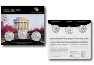 George Rogers Clark Quarters for Indiana in Three-Coin Set