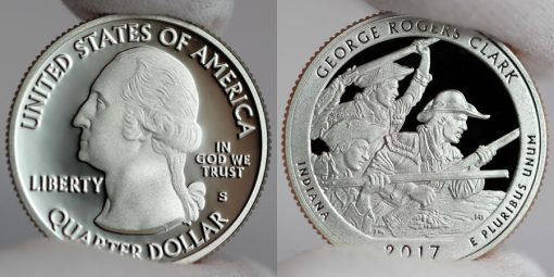 2017-S Clad Proof George Rogers Clark Quarter - Obverse and Reverse,a