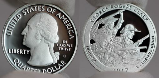 2017-S Silver Proof George Rogers Clark Quarter - Obverse and Reverse
