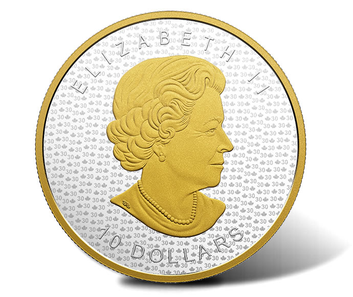 2018 $15 30th Anniversary SML Gold-Plated 2 oz. Silver Coin - Obverse