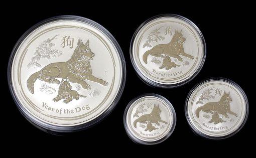 Australian 2018 Year of the Dog Silver Bullion Coins - 10oz, 2oz, 1/2oz, and 1oz