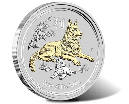 Australian Lunar Silver Coin Series II 2018 Year of the Dog 1oz Silver Gilded Edition