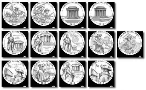 Design candidates for the 2017 George Rogers Clark National Historical Park quarter