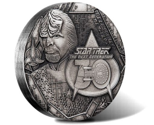 Star Trek: The Next Generation Lieutenant Commander Worf 2017 2oz Silver Antiqued Coin