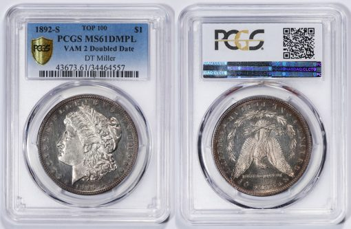 1892-S Morgan Silver Dollar VAM 2 Doubled Date