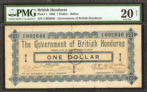 BRITISH HONDURAS. Government of British Honduras. 1 Dollar, 1894 Issue