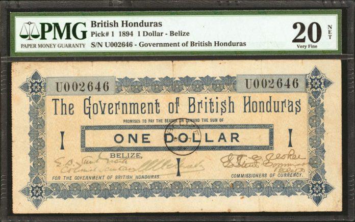 BRITISH HONDURAS. Government of British Honduras. 1 Dollar, 1894 Issue