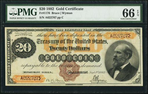 Fr. 1176 $20 1882 Gold Certificate PMG Gem Uncirculated 66 EPQ