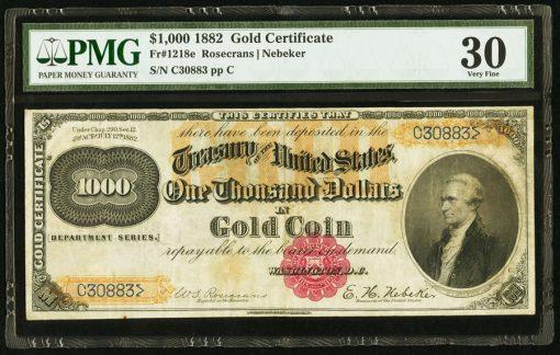 Fr. 1218e $1,000 1882 Gold Certificate