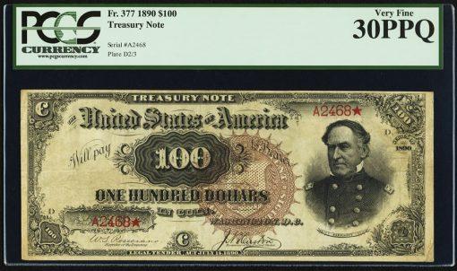 Fr. 377 $100 1890 Treasury Note PCGS Very Fine 30PPQ