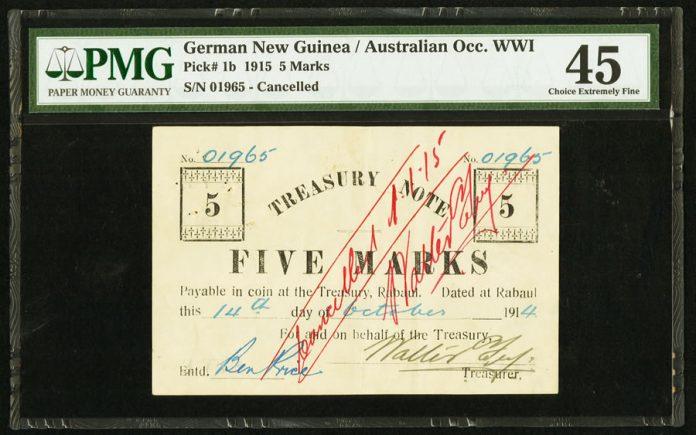 German New Guinea Australian Occupation WWI $5 note