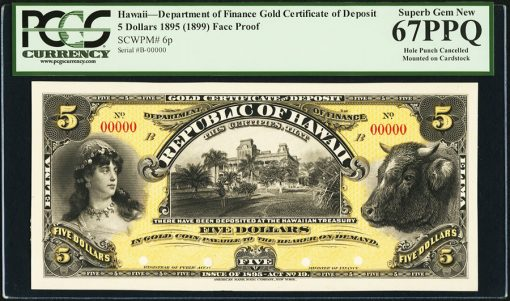 Hawaii Department of Finance $5 1895 (1899) Pick 6p Face Proof