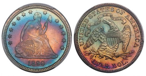 Lot 26. 25C 1890 PR68 CAC from the Bubbabells Collection
