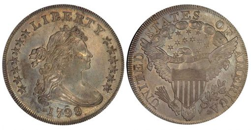 Lot 37. $1 1799/8 15 Star Reverse. PCGS MS62 from the Bubbabells Collection