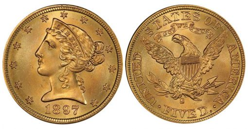 Lot 50 $5 1897-S PCGS MS67+ CAC From the Bubbabells Collection