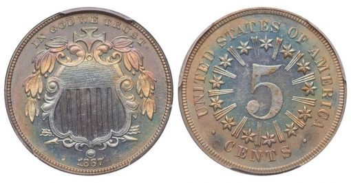 Lot 61 5C 1867 Rays. PCGS PR64+ CAC From the York Collection