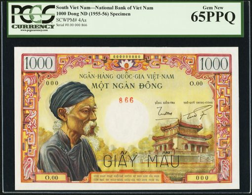 South Vietnam National Bank of Viet Nam 1000 Dong ND (1955-56) Pick 4As Specimen