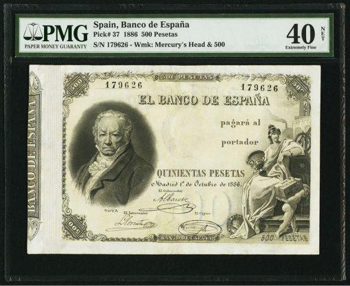Spain Banco de Espana 500 Pesetas 1.10.1886 Pick 37