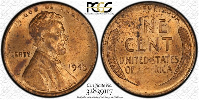 1943 Bronze Lincoln Cent PCGS MS63RD