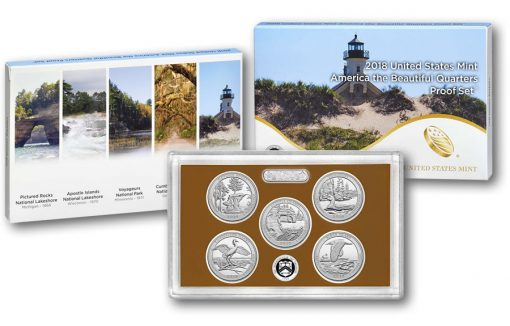2018 America the Beautiful Quarters Proof Set, Packaging, Lens, Coins