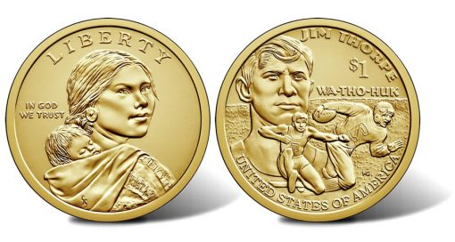 2018 Native American $1 Coin - Sacagawea Obverse and Jim Thorpe Reverse
