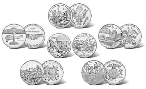 2018 World War I Centennial Silver Dollar and Silver Medals