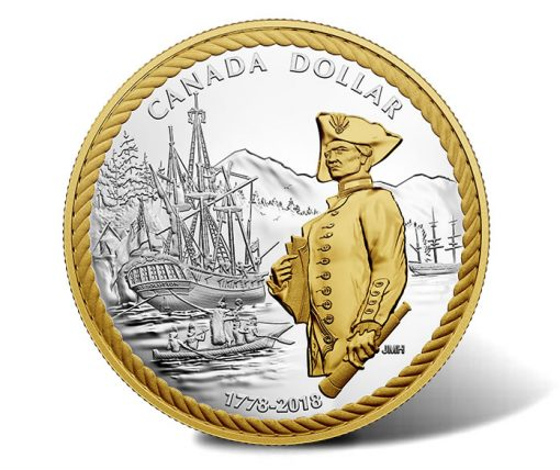 240th Anniversary of Captain Cook at Nootka Sound 2018 Gold Plated Silver Dollar