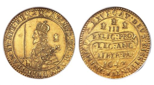 Charles I gold Triple Unite 1643 MS61 NGC