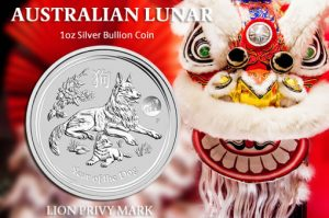 2018 Australian Lunar Dog Coin with Lion Privy Mark