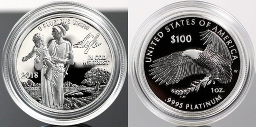 Photo of 2018-W Proof American Platinum Eagle - Obverse and Reverse
