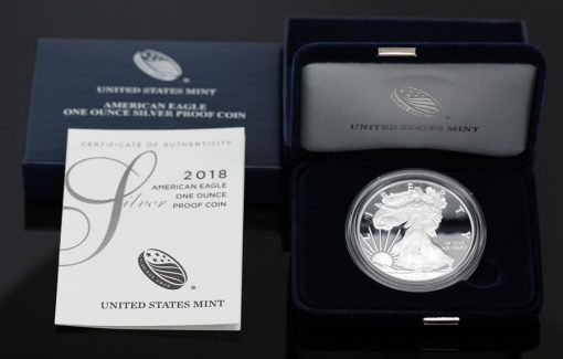 Photo of 2018-W Proof American Silver Eagle, Case, Certificate
