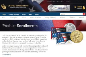 Screenshot U.S. Mint Product Enrollment page