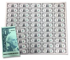 Series 2017 50-Subject, $1 Uncut Currency Sheet