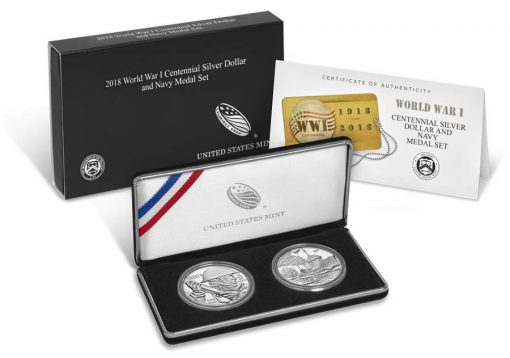 World War I Centennial 2018 Silver Dollar and Navy Medal Set - Packaging, Case and Cert