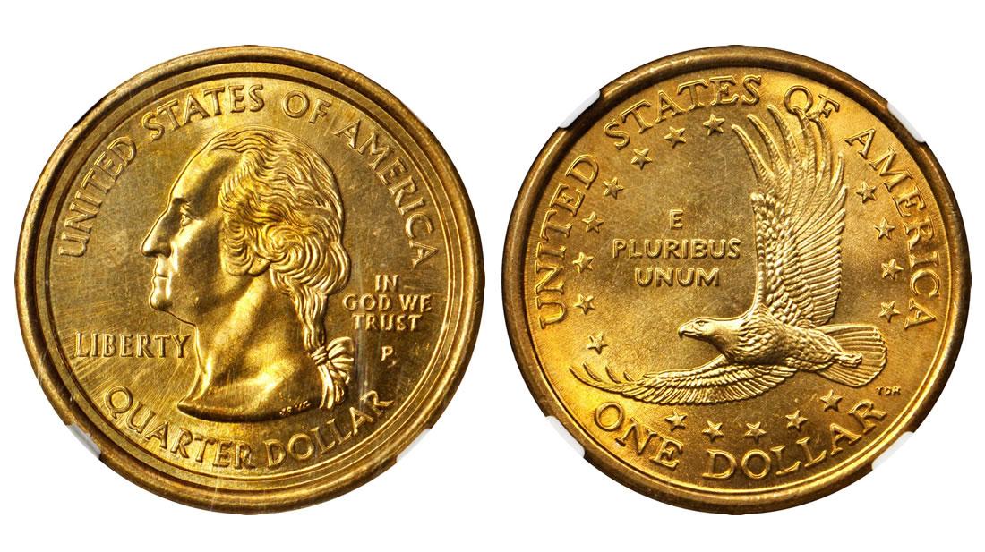 2000 P Sacagawea Dollar Washington Quarter Mule Error