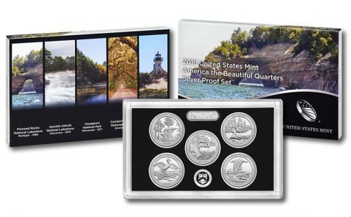 2018 America the Beautiful Quarters Silver Proof Set, Packaging, Lens, Coins