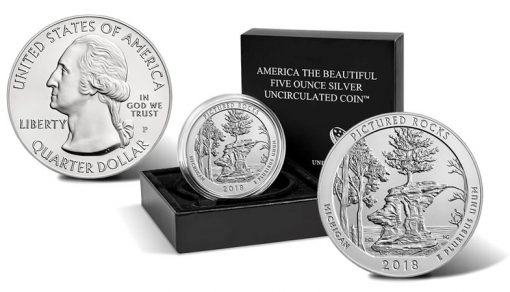 2018-P Pictured Rocks National Lakeshore Uncirculated Five Ounce Silver Coin and Packaging