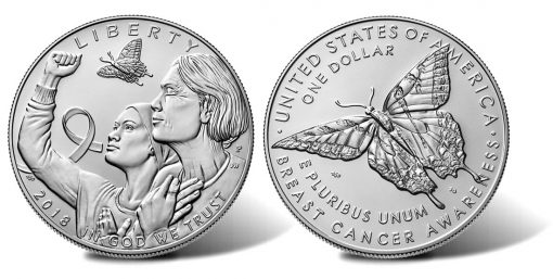 2018-P Uncirculated Breast Cancer Awareness Silver Dollar