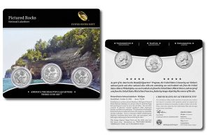Pictured Rocks Quarters for Michigan in Three-Coin Set