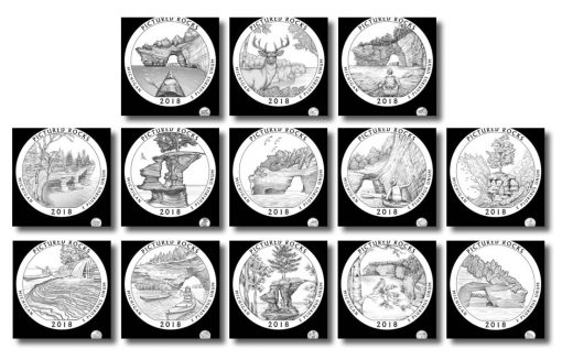 2018 PICTURED ROCKS US MINT PDS 3 COIN SET  NICE LOOK !