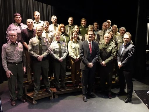 National Park Service employees at Pictured Rocks quarter ceremony